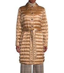 lafayette 148 new york women's delroy quilted tech satin coat - camel - size m