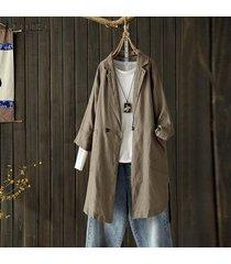zanzea plus s-5xl camisa de solapa de manga larga para mujer tops camisa casual blusa lisa suelta -camello