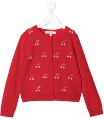 bonpoint embroidered cherry cashmere cardigan