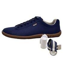 kit sapatênis casual azul + cinto e meia