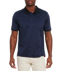 robert graham men's rodford classic-fit polo shirt - navy - size m