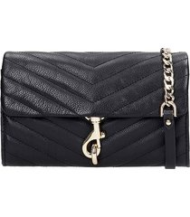 rebecca minkoff edie wallet on shoulder bag in black leather