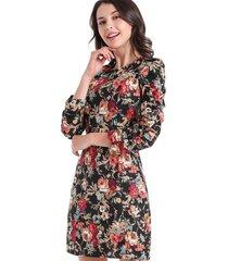 vestido estampado floral vintage negro nicopoly
