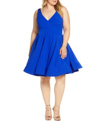 plus size women's mac duggal fit & flare party dress, size 22w - blue