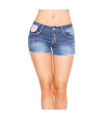 sexy jeans shorts met roze knopen jeansblauw