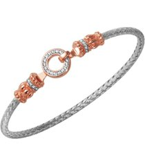 925 sterling silver with 18k rose gold plate two-tones cubic zirconia braided bangle