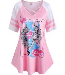 plus size flower tiger print criss cross tunic tee