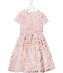 monnalisa belted lace skater dress - pink