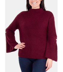 ny collection bell-sleeve mock-neck sweater