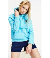 tommy hilfiger women's organic cotton badge hoodie fresh aqua - xs