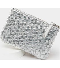 cassie woven leather coin pouch - silver