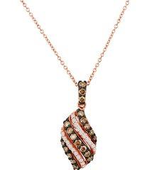 le vian women's 14k strawberry gold®, chocolate diamond® & vanilla diamond® pendant necklace