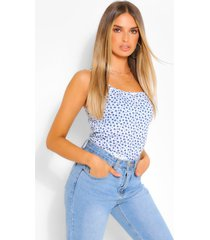 ditsy floral rib strappy cami top, ivory
