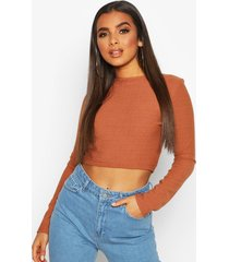layered contrast super soft ribbed long sleeve top, terracotta