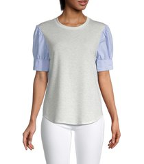 supply & demand women's rocco puff-sleeve top - chambray - size l