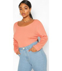 plus crew neck knitted long sleeve sweater, peach