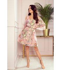 292-1 marina zwiewna szyfonowa sukienka z dekoltem