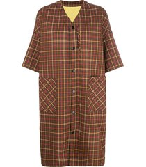 neul checked short sleeved coat - brown