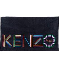 kenzo men's logo beach towel - black
