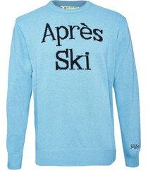 light blue après ski blended cashmere mans sweater