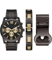 folio men's gunmetal bracelet watch 46mm box set