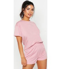 basis-t-shirt en shortset, blush