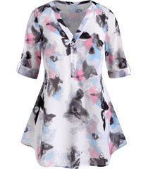 abstract butterfly print button front tab sleeve plus size top