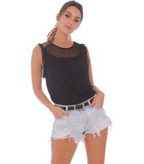 camiseta manga sisa con detalles en tul, para mujer x49495