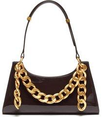 froggy' chain embellished patent leather shoulder bag