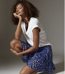 reiss emelia - printed mini skirt in blue print, womens, size 12