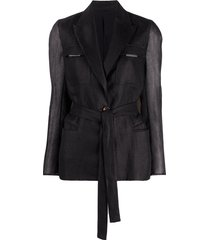 brunello cucinelli wrap jacket with sheer sleeves - black