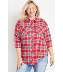 maurices plus size womens red plaid oversized button down shirt