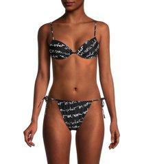 weworewhat women's print underwire bikini top - black white - size s