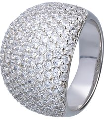 anello in argento a fascia bombato con pavé di zirconi per donna
