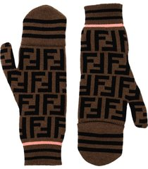 fendi ff motif pattern mitten gloves - brown