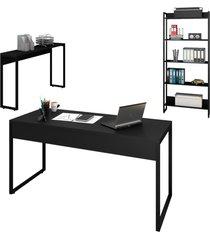 conjunto escritã³rio mesa 150 aparador e estante studio industrial m18 preto - mpozenato - preto - dafiti