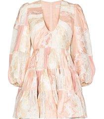 zimmermann patchwork tiered mini dress - pink