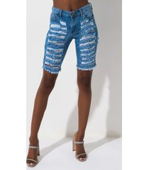 akira delta distressed denim shorts