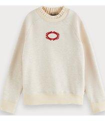 scotch & soda ruched neck cotton-blend sweatshirt