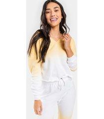 women's alessa ombre hooded sweatshirt in yellow by francesca's - size: 3x