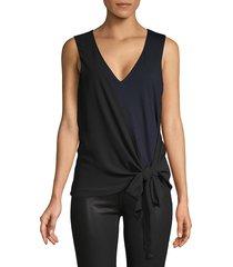 bailey 44 women's self-tie sleeveless top - twilight black - size xl