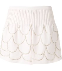 andrea bogosian pie couture embroidered shorts - pink