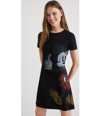 mickey mouse t-shirt dress - black - l