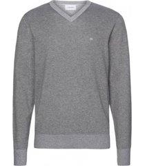 sweater cotton silk v-neck gris calvin klein