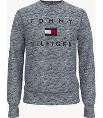 tommy hilfiger men's essential logo sweatshirt blue heather - xl