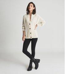 reiss summer - shawl collar cardigan in cream, womens, size xl