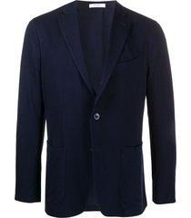 boglioli single-breasted cotton blazer - blue