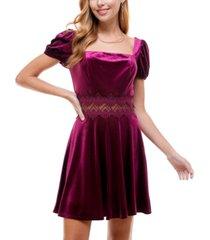 city studios juniors' lace-trim puff-sleeve velvet dress