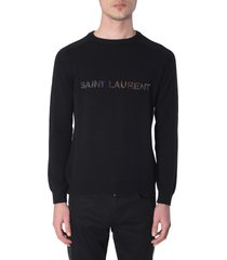 saint laurent sweater with embroidered logo