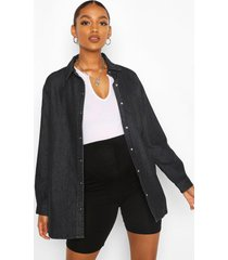 maternity oversized denim shirt, black